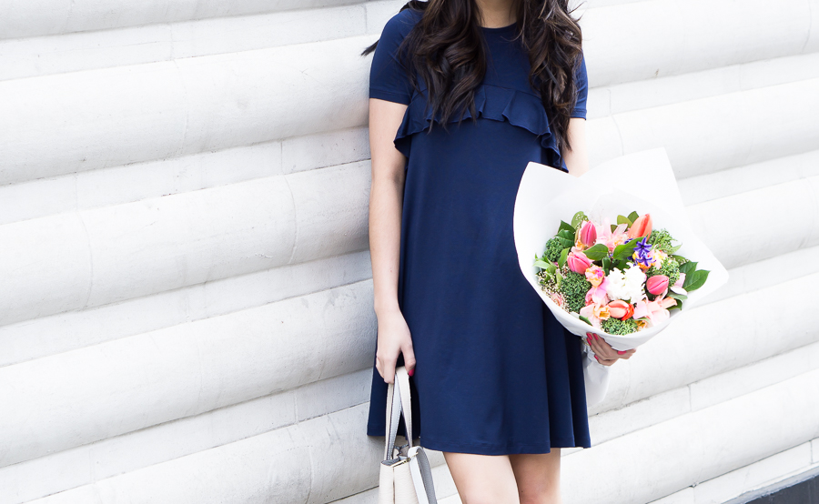 spring outfit: asos swing dress with ruffle detail