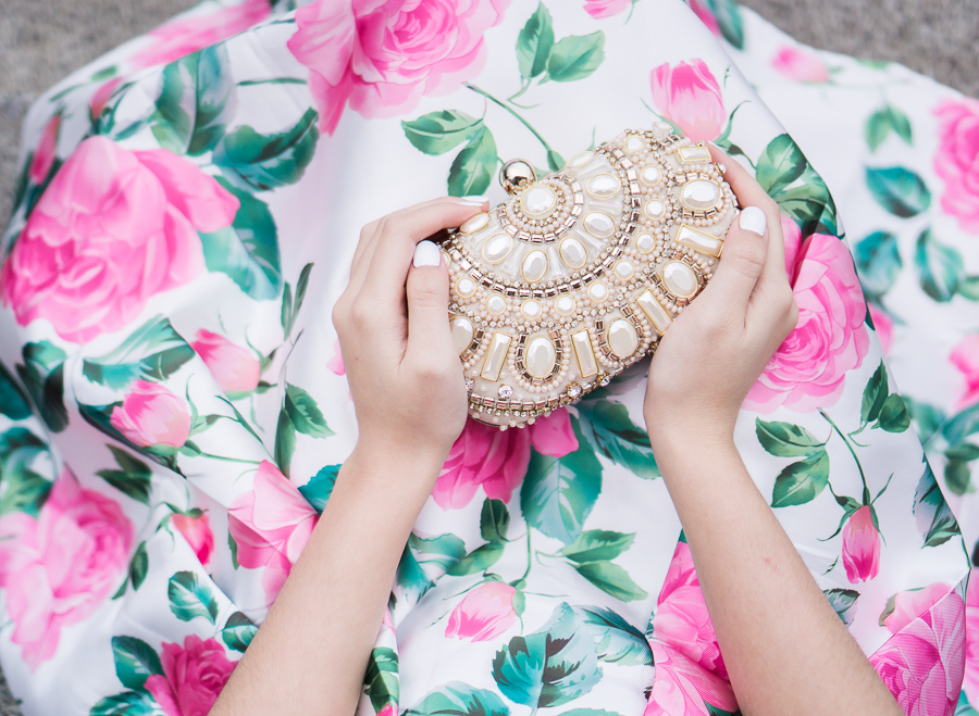 Embellished box clutch, floral print dress