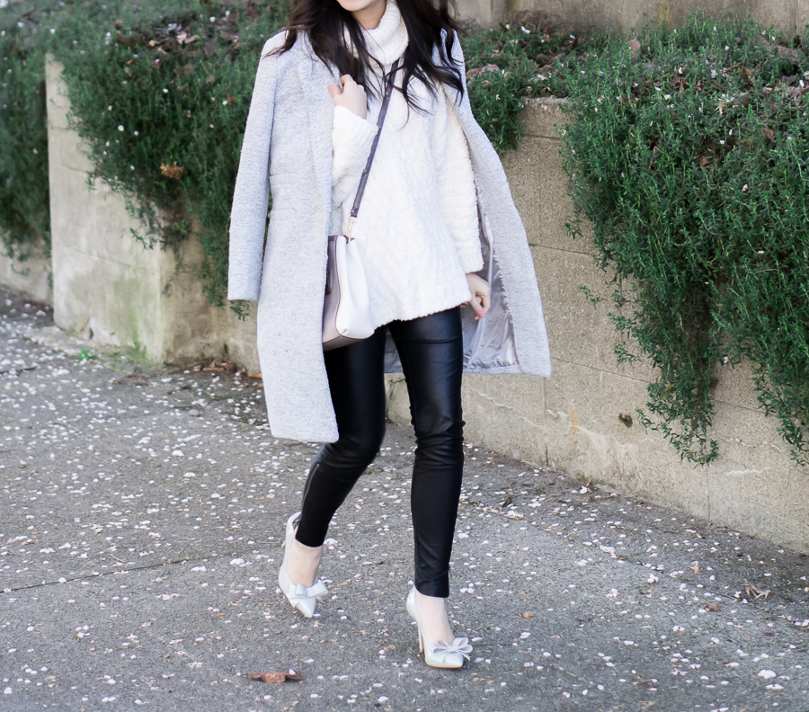 faux leather leggings, chelsea28 fluffy turtleneck sweater outfit