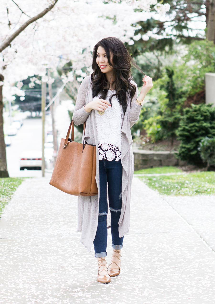 spring style, casual outfit, bobi mesh long cardigan, lace up shoes, nordstrom bp katrina pointy toe ghillie flat