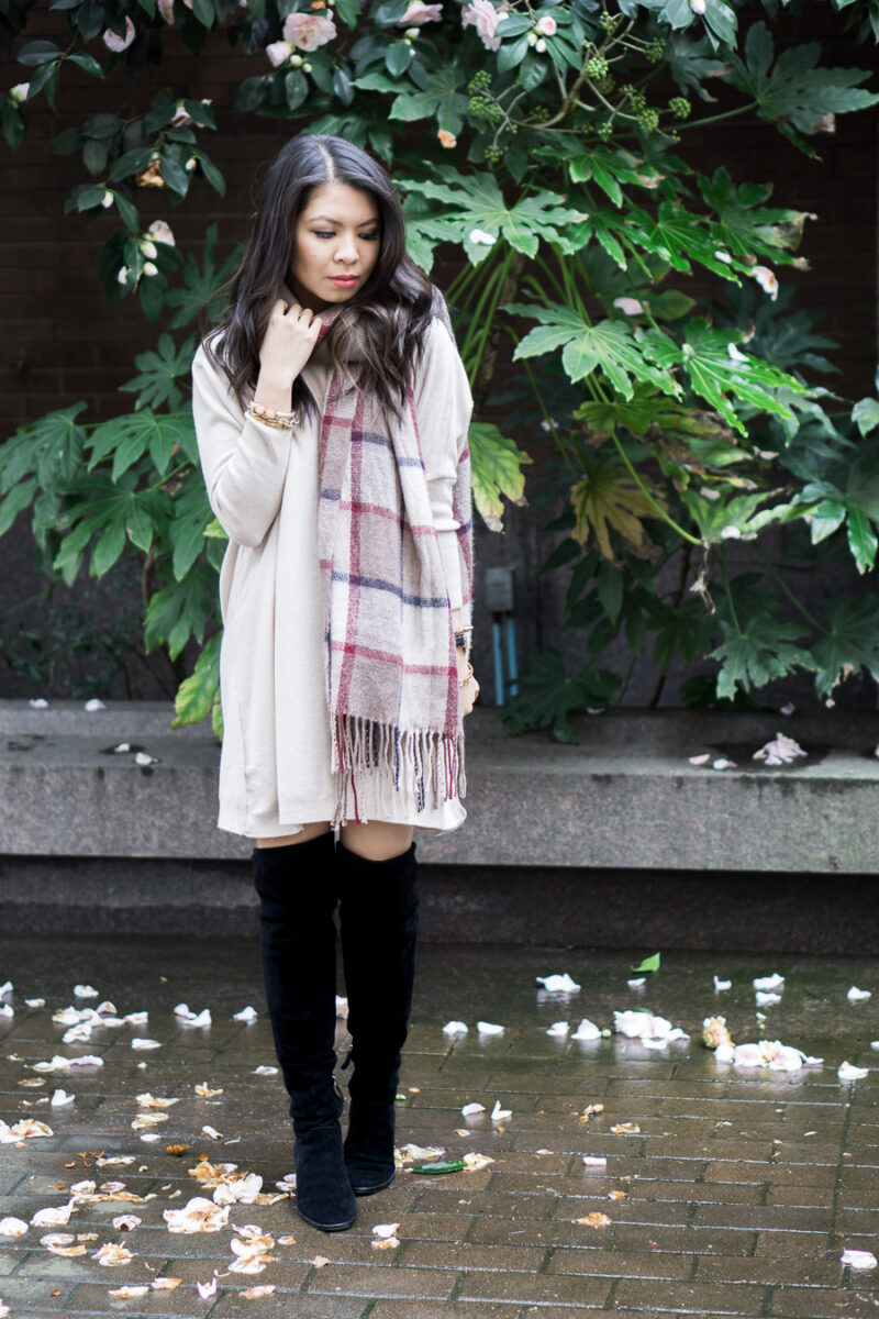 Sweater Dress + Over the Knee Boots Outfit