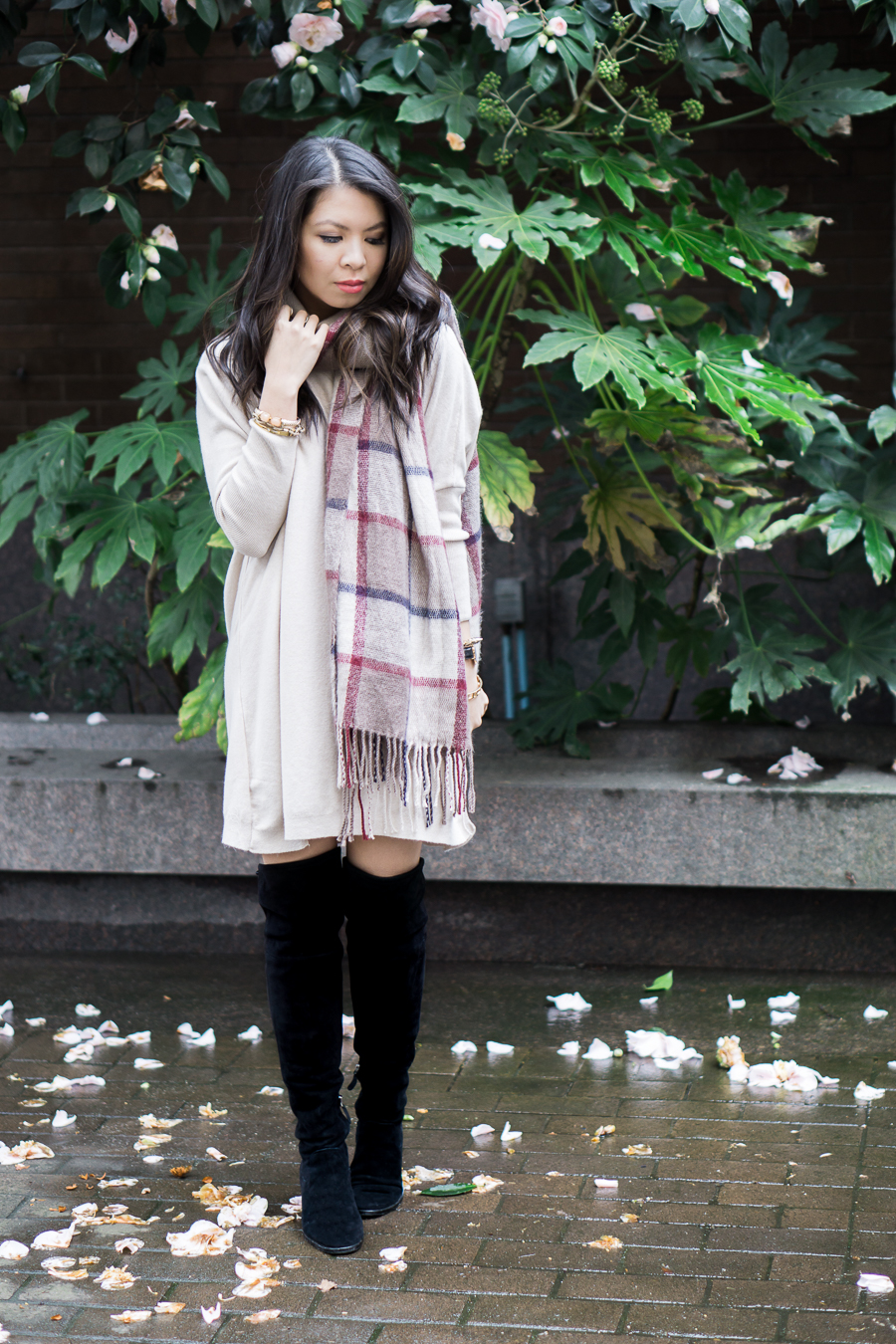 sweater dress over the knee boots outfit, asos tunic dress