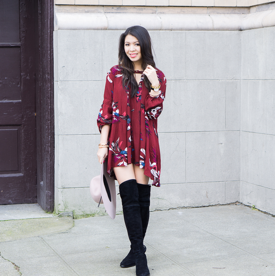 Swing dress: Chicwish Keep Swinging Floral Tunic, Dolce Vita Neely Flat Over the Knee Boots
