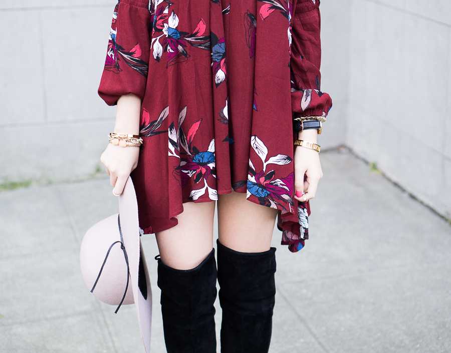 Swing dress: Chicwish Keep Swinging Floral Tunic, Dolce Vita Neely Flat Over the Knee Boots, Floppy Hat