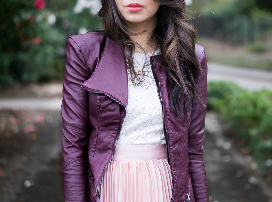 blush pleated maxi skirt, burgundy faux leather jacket, spring style outfit idea