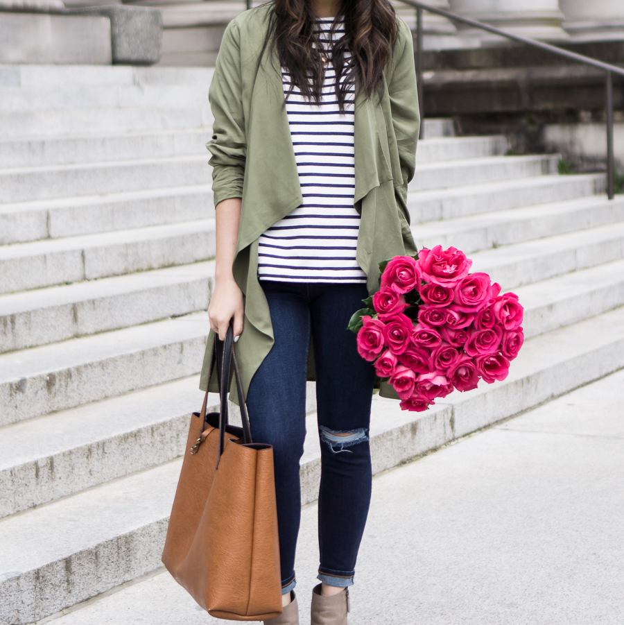 casual fashion style, leith army green waterfall jacket, topshop skinny ripped jeans, striped shirt