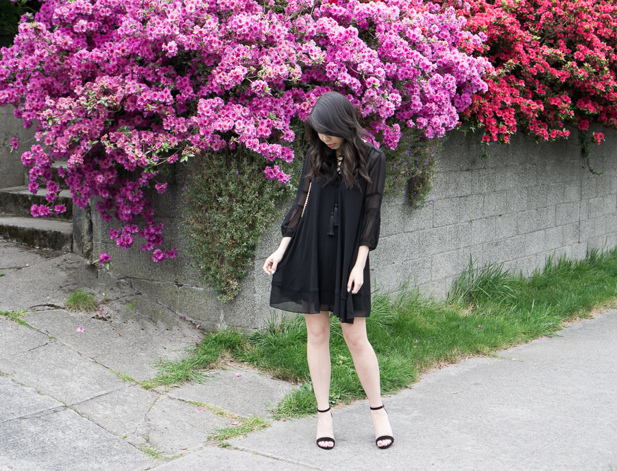 chelsea28 lace up babydoll dress, black sandals, spring fashion outfit, petite fashion blog