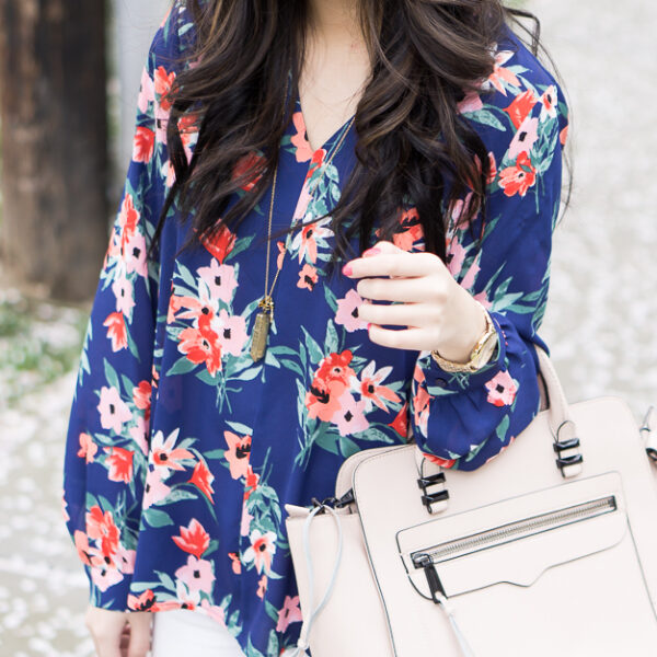 floral print blouse, rebecca minkoff avery tote