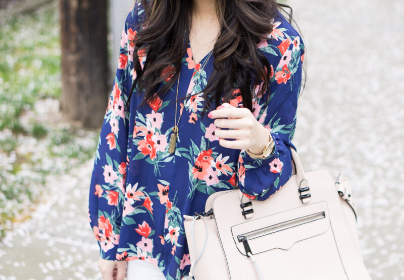 White Skinny Jeans + Floral Print Blouse