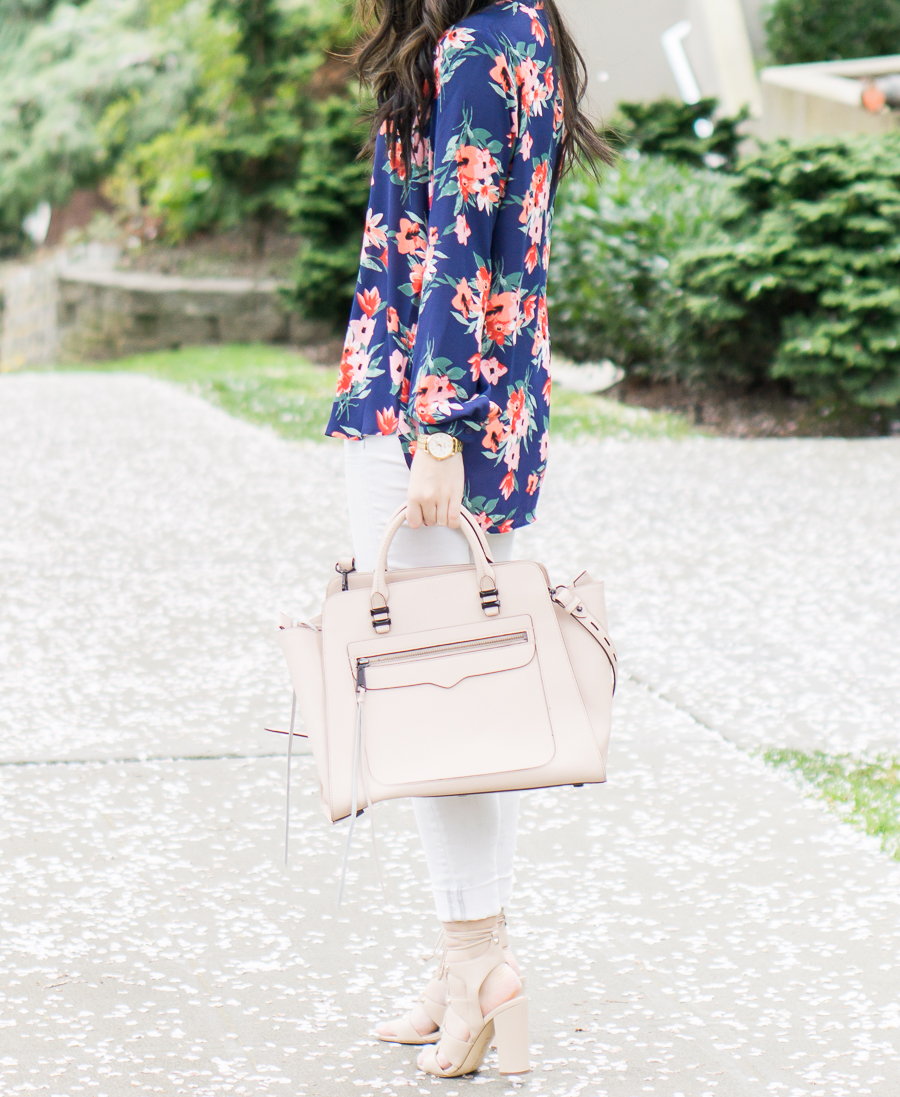 floral print blouse, white skinny jeans, lace up sandals, rebecca minkoff avery tote