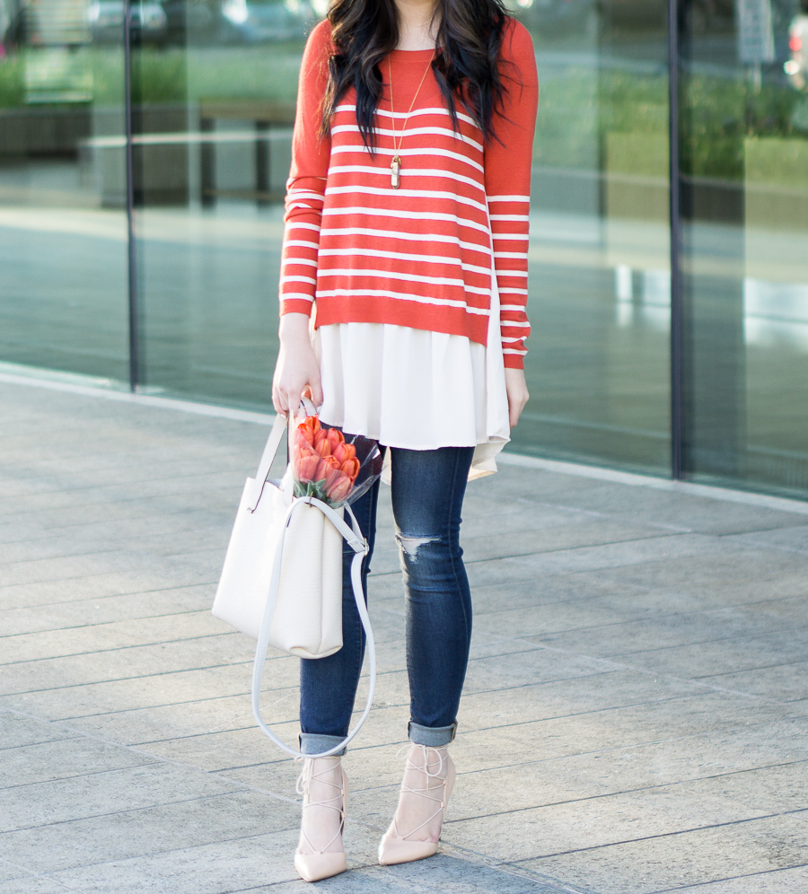 c95e1a77abe idol collective orange striped sweater with chiffon like layers ...