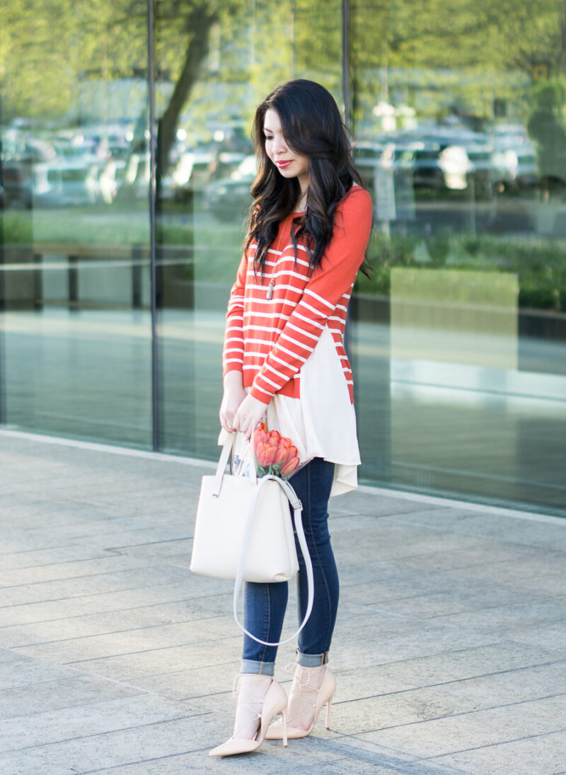 Orange Striped Sweater + Giveaway