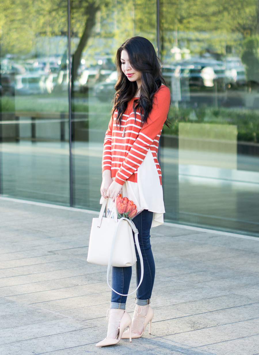idol collective orange striped sweater with chiffon like layers, lace up pumps, skinny ripped jeans, spring fashion, mini faux leather tote, petite fashion blog