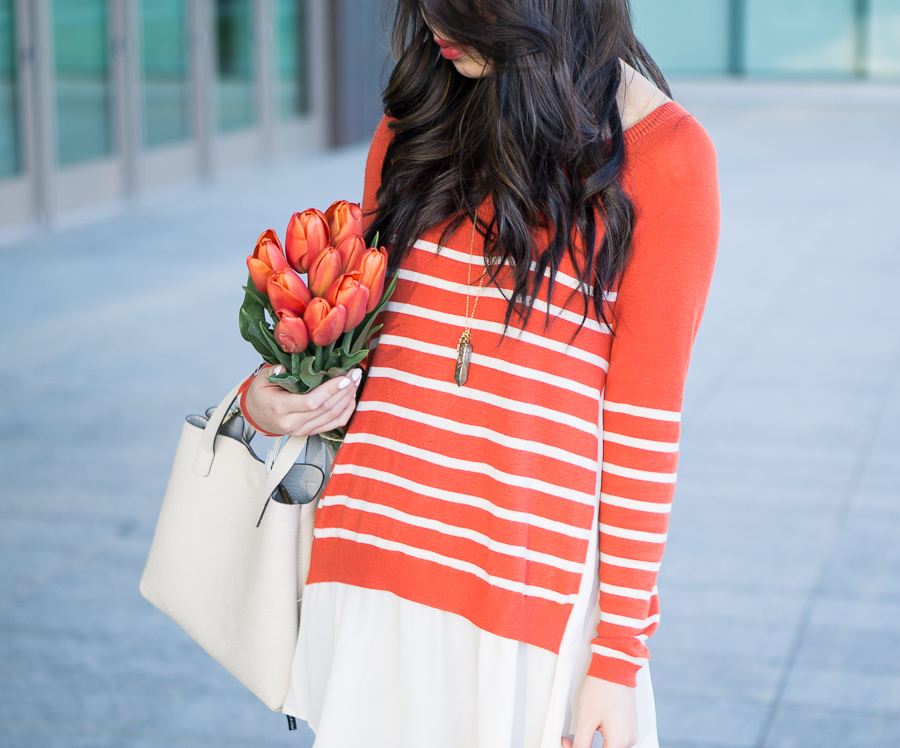 idol collective orange striped sweater with chiffon like layers, spring fashion, mini faux leather tote