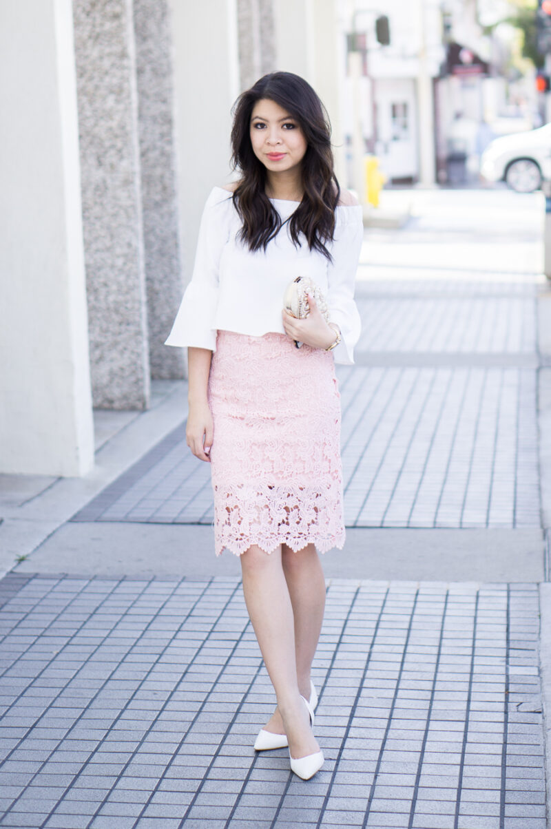 Lace Pencil Skirt + Off The Shoulder Top