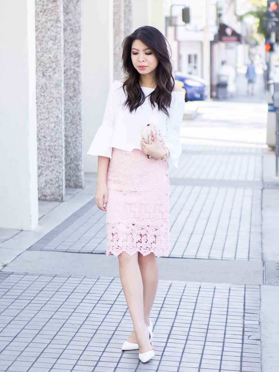 lace pencil skirt outfit, bell sleeves off the shoulder top, spring fashion, petite fashion blog