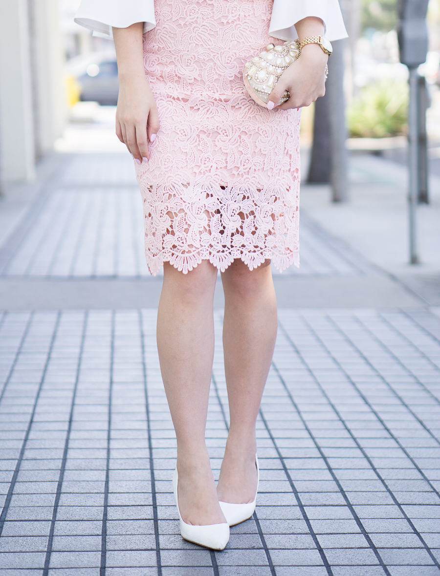 lace pencil skirt outfit, spring fashion, petite fashion blog