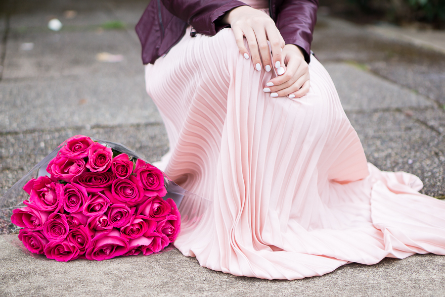 shein blush pleated maxi skirt