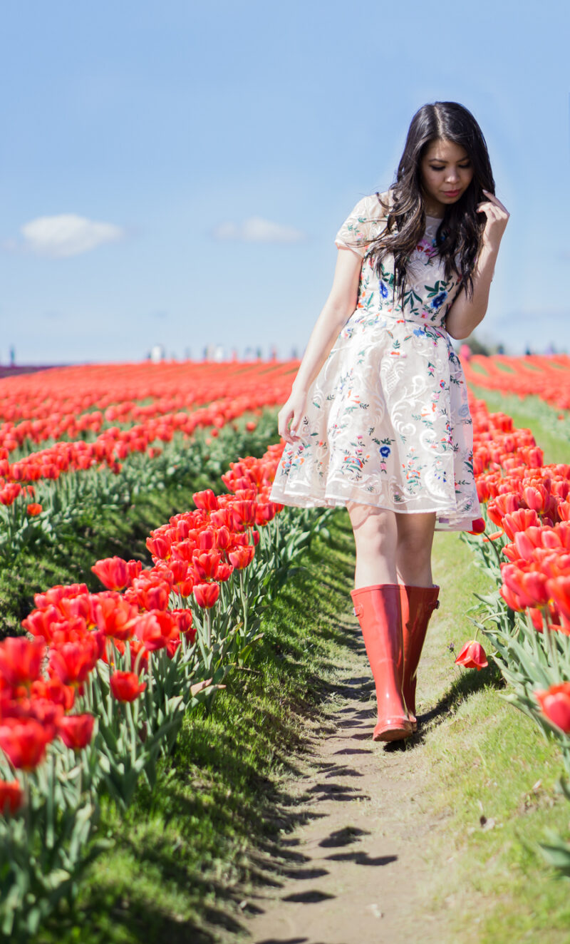 Floral Dress + Red Rain Boots at the Skagit Tulip Fields