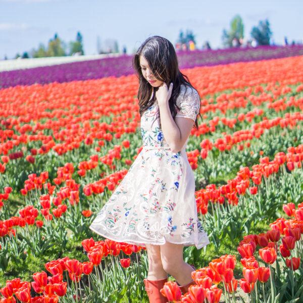 skagit tulip fields washington, floral dress chicwish garden embroidered beige organza dress, red rain boots outfit