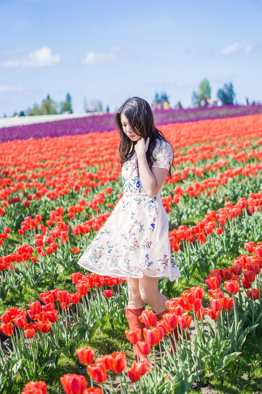 skagit tulip fields washington, floral dress chicwish garden embroidered beige organza dress, red rain boots outfit