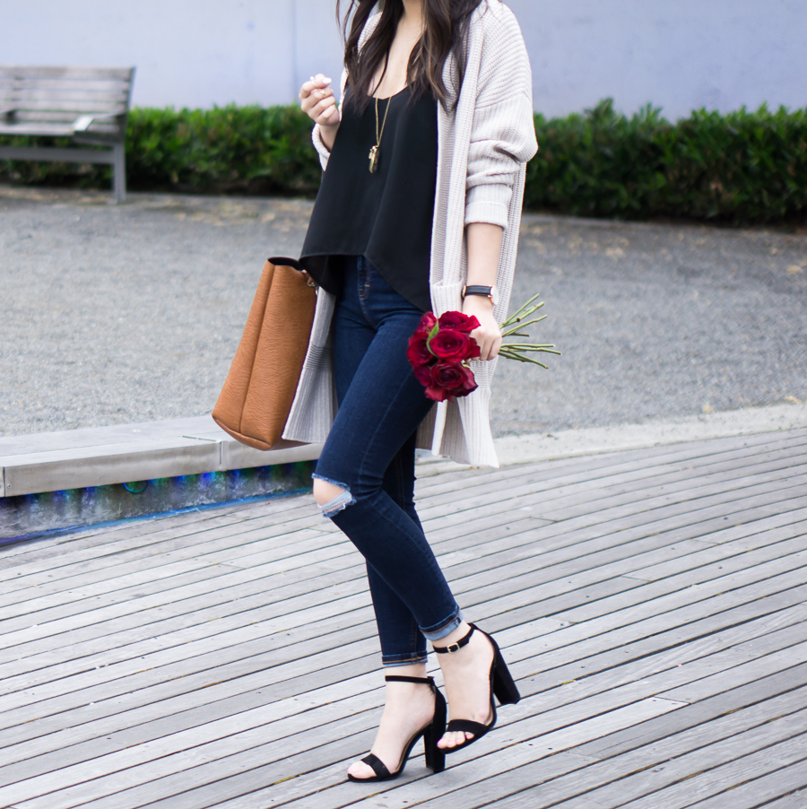 chunky cardigan sweater, tie back swing camisole, ankle strap sandals, spring fashion, petite fashion blog