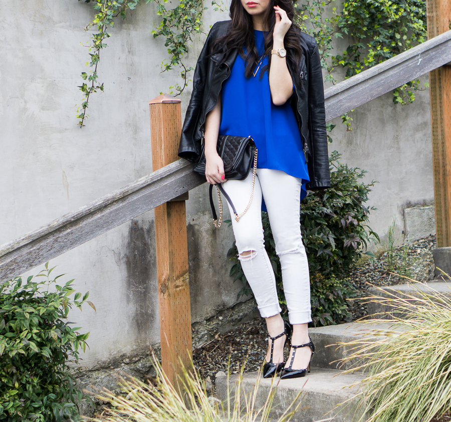 blanknyc leather jacket outfit, white skinny jeans, vince camuto blouse, spring fashion, petite fashion blog