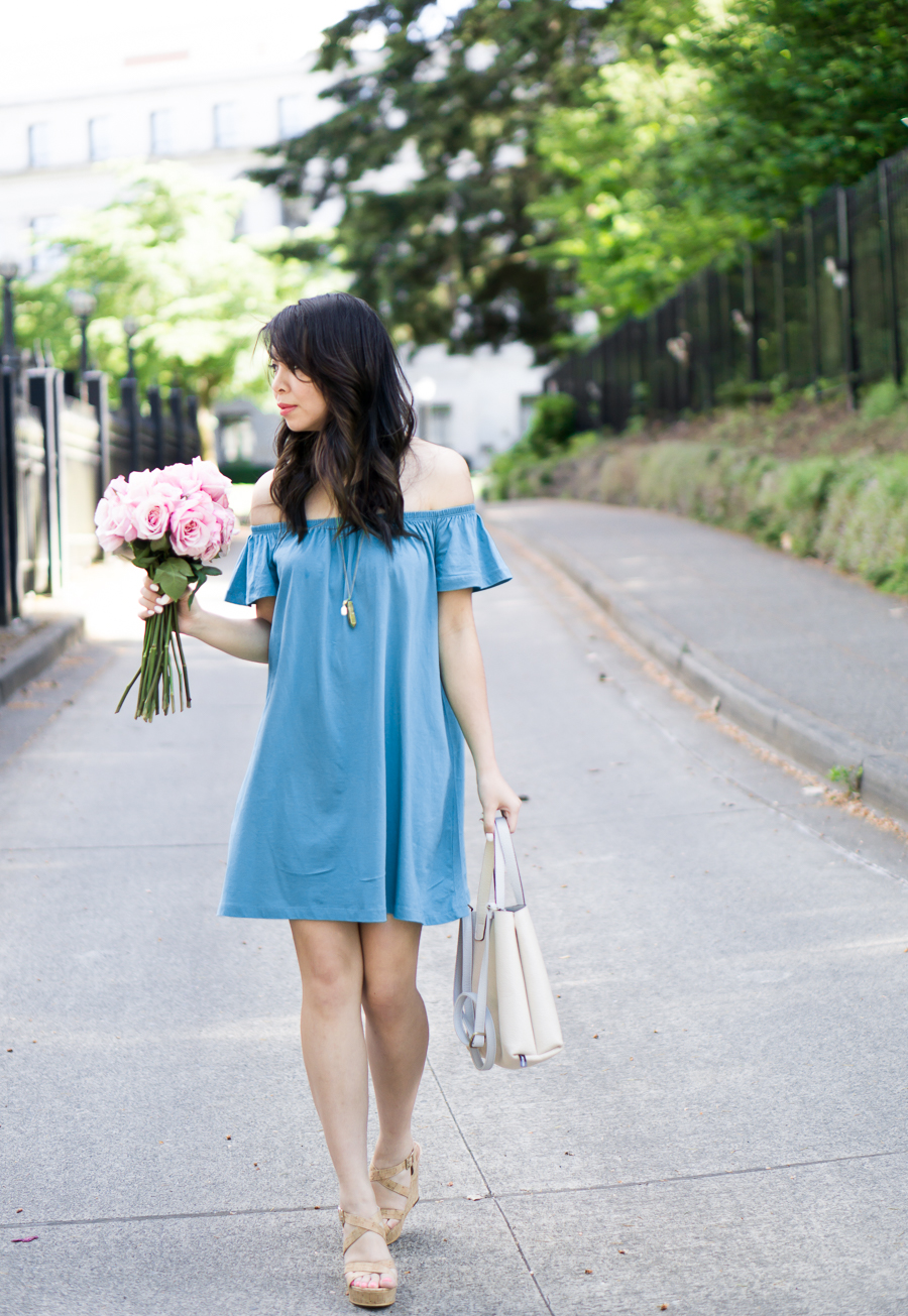 casual off the shoulder dress, cork wedges, spring fashion, petite fashion blog