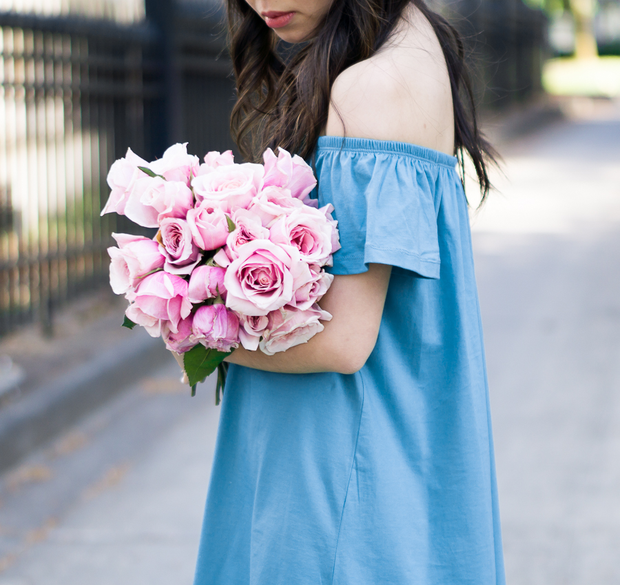 casual off the shoulder dress, pink roses, spring fashion, petite fashion blog