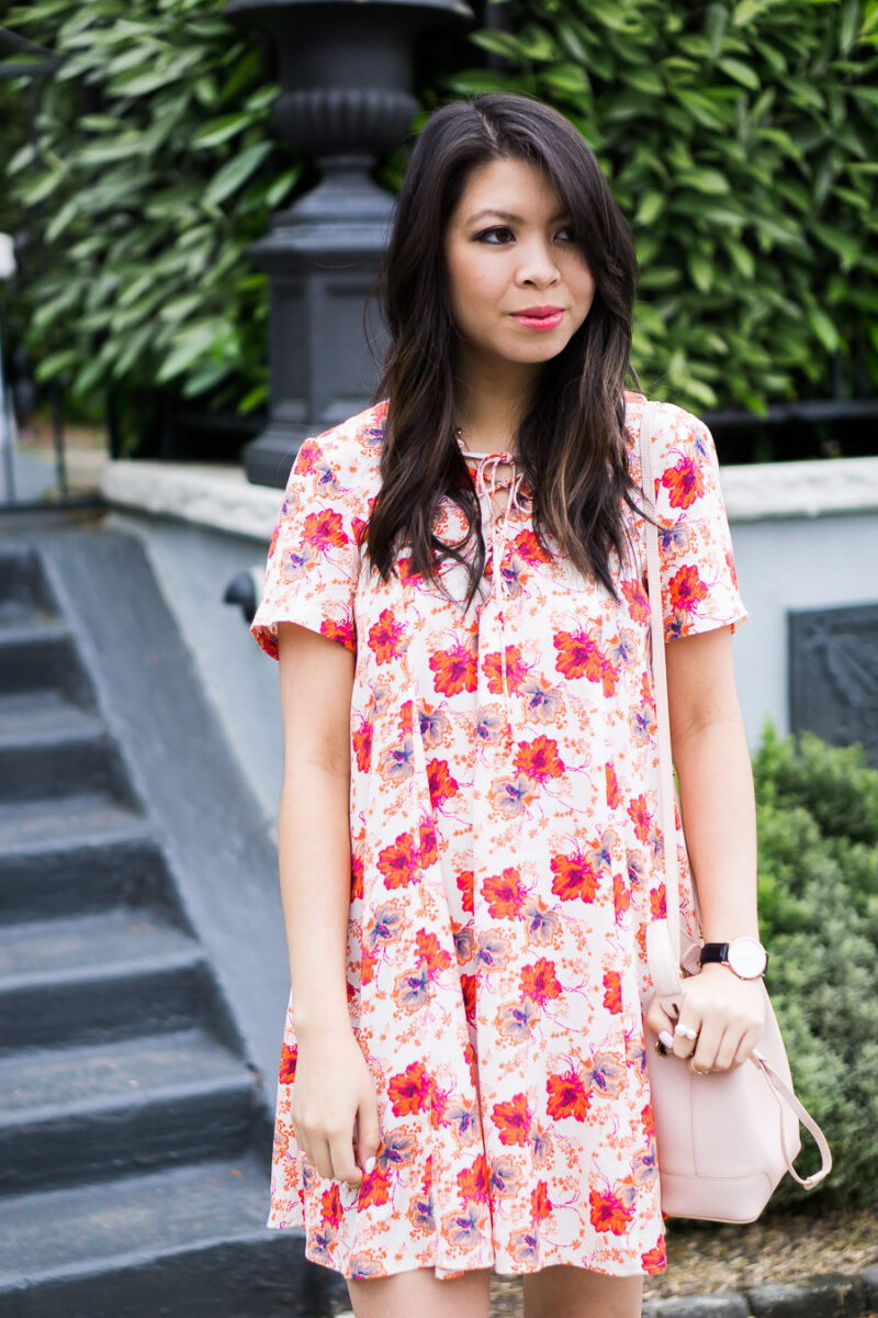 Lace Up Floral Dress