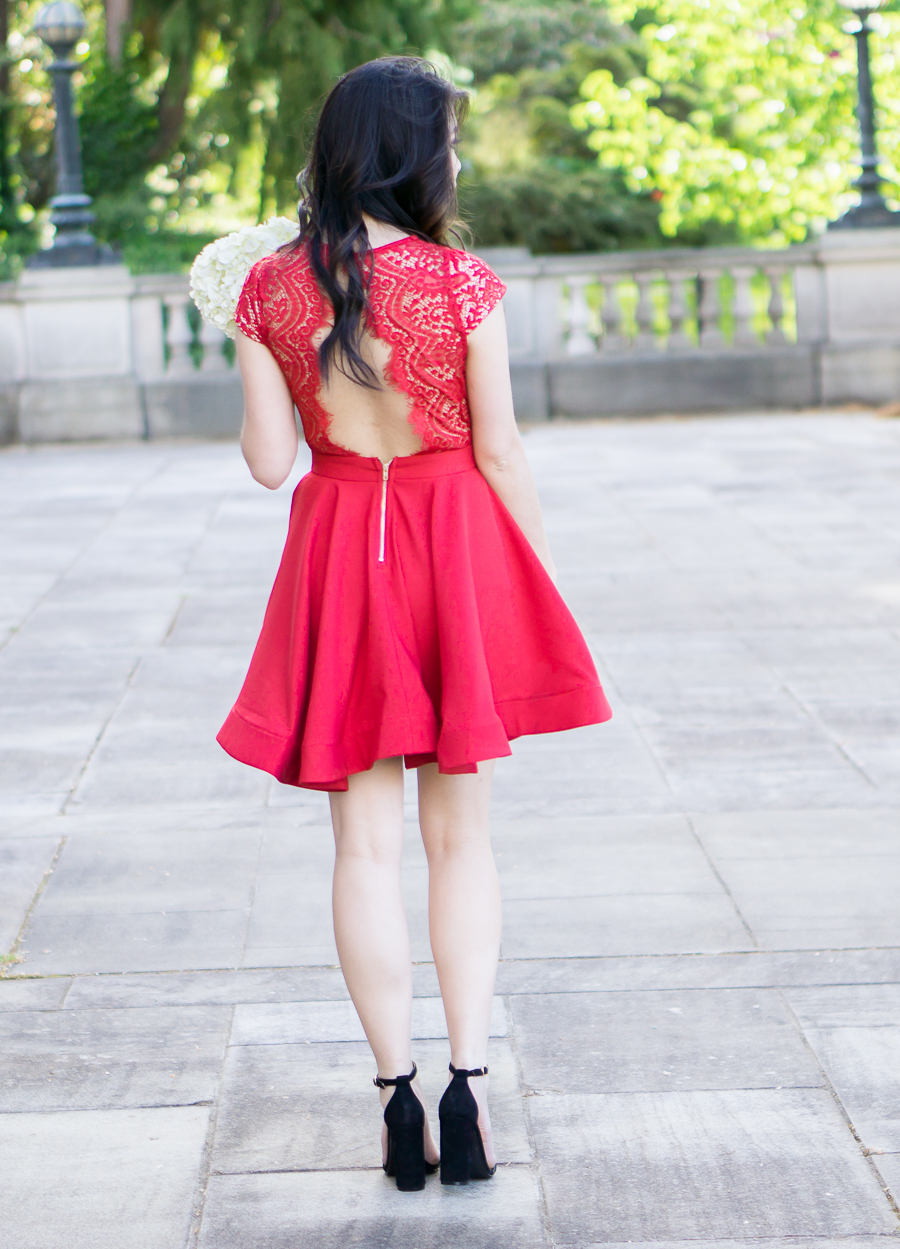 scalloped red lace dress, steve madden ankle strap sandals, wedding guest dress, petite fashion blog