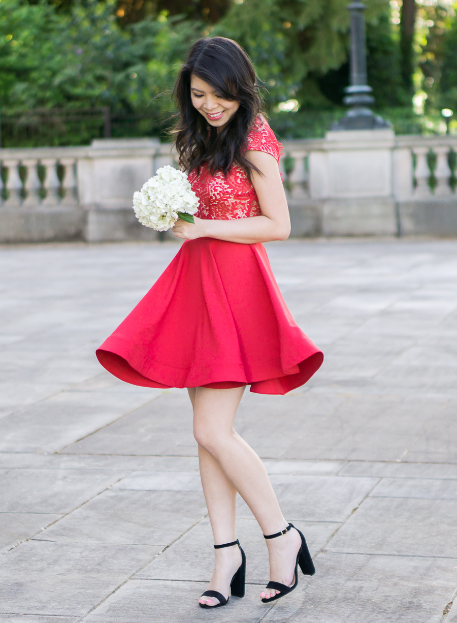 Scalloped Red Lace Dress Just A Tina Bit