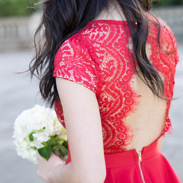 red lace dress, wedding guest dress, petite fashion blog