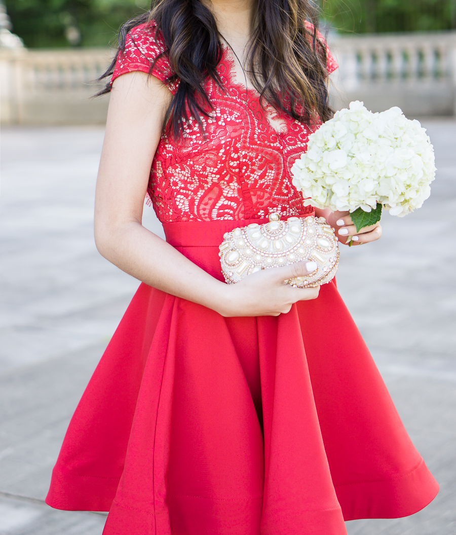scalloped red lace dress, wedding guest dress, petite fashion blog