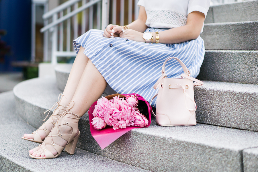 stripe a line skirt, lace up sandals, mini bucket bag, spring fashion outfit, petite fashion blog