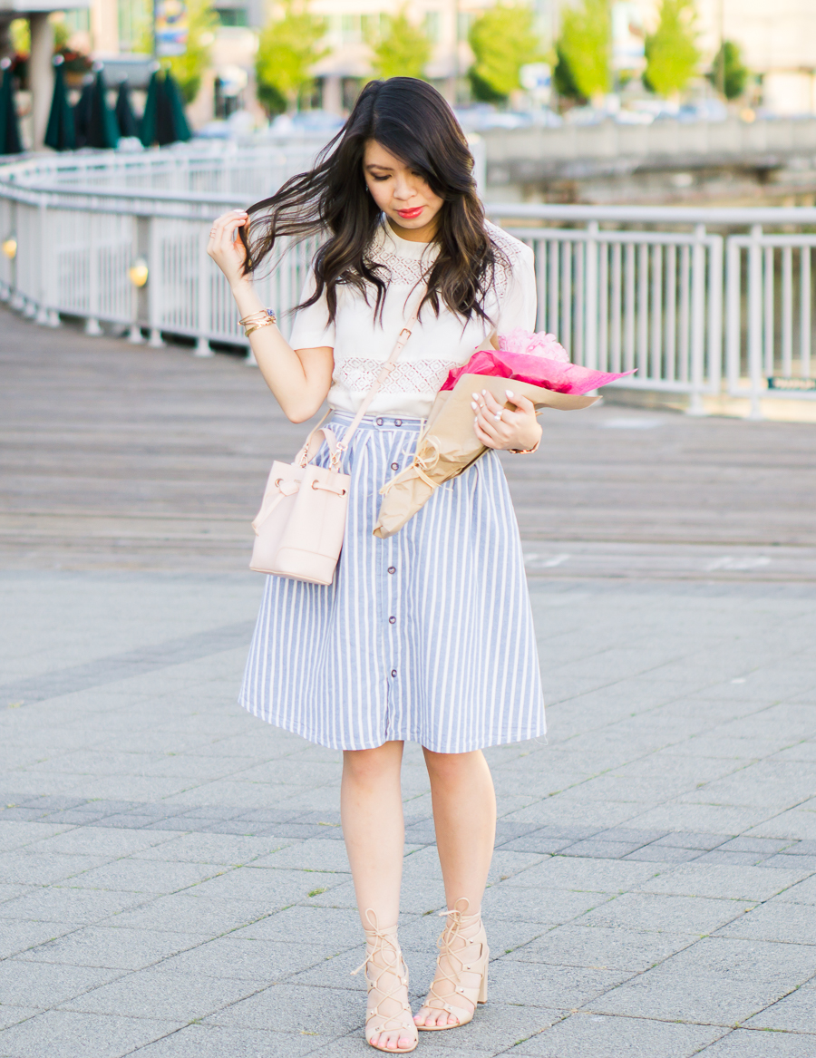 stripe a line skirt, white tee, lace up sandals, spring fashion outfit, petite fashion blog