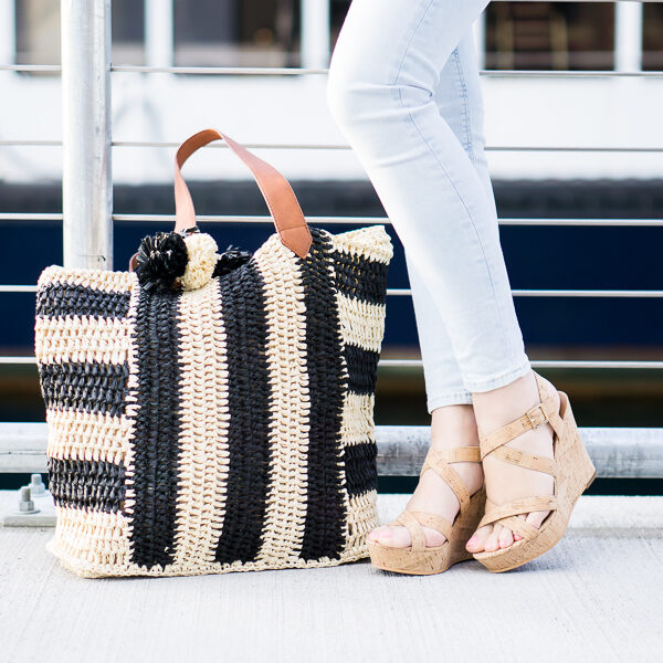 sole society straw beach tote, nordstrom bp cork wedges, spring fashion