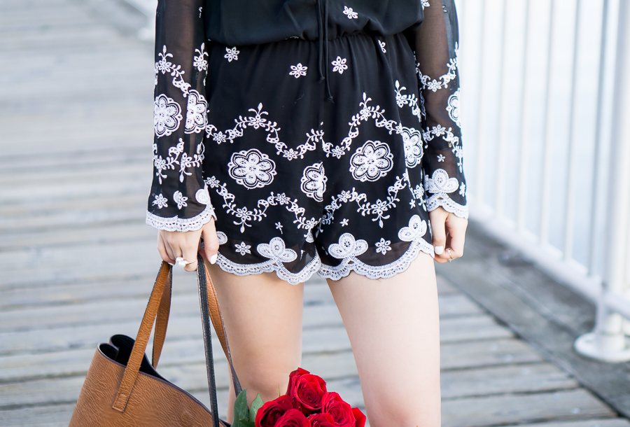 wayf embroidered romper, black playsuit, spring fashion, petite fashion blog