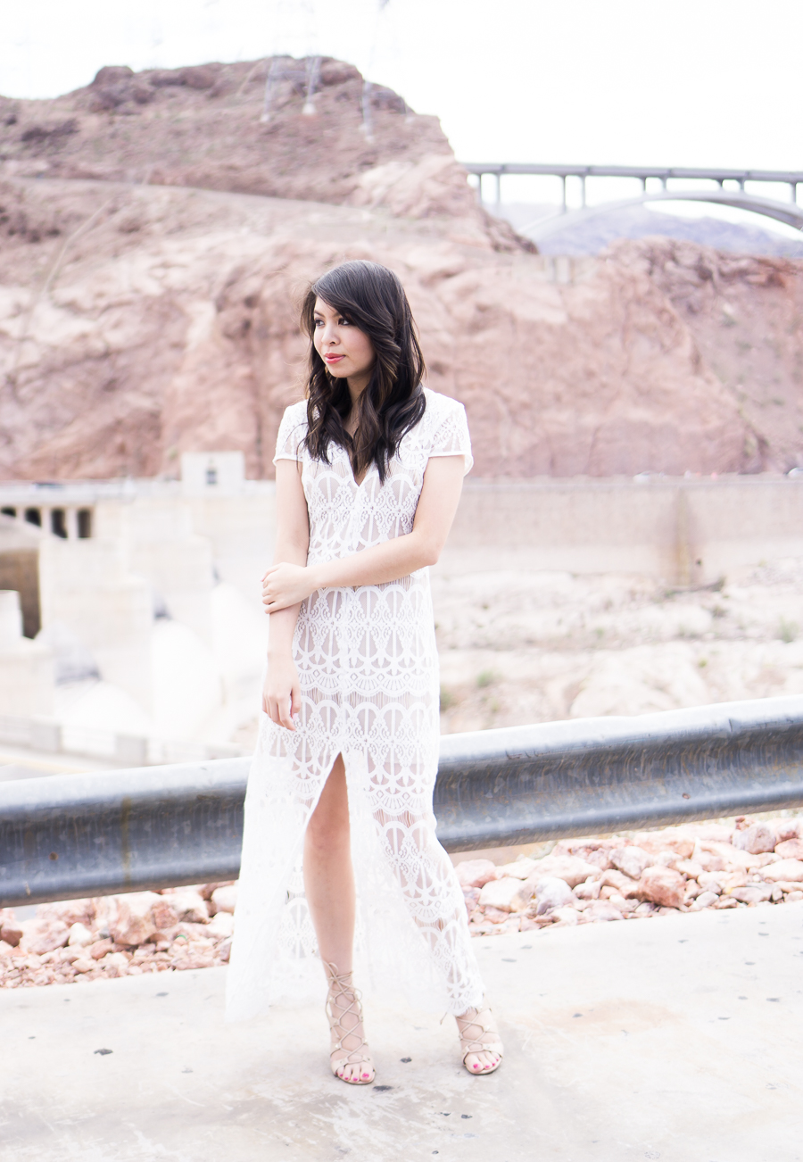 wayf lace maxi dress, lace up shoes, spring fashion, hoover dam