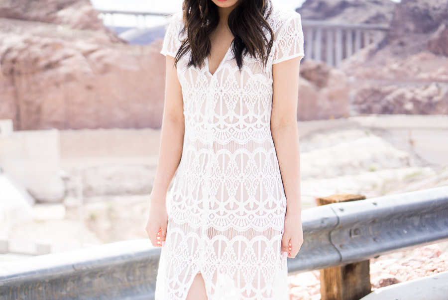 wayf lace maxi dress, spring fashion, hoover dam