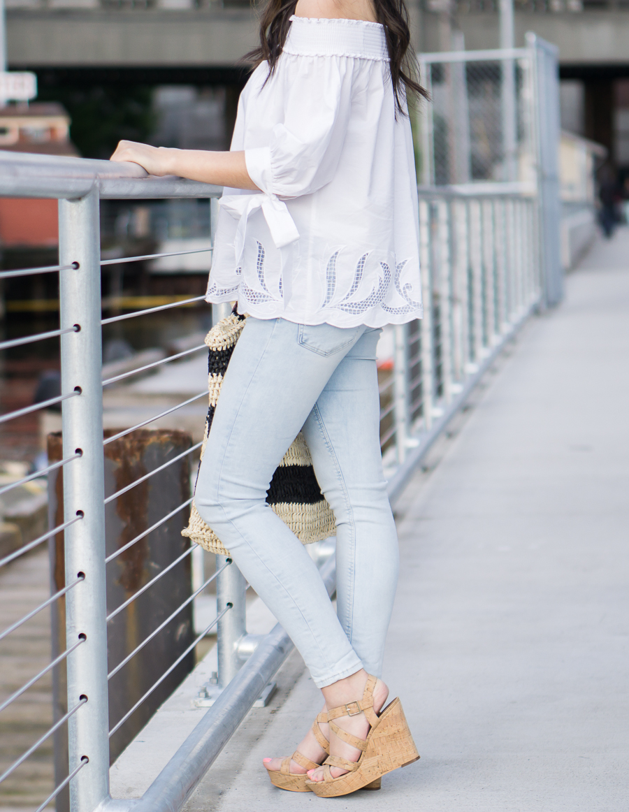 white off shoulder top outfit, light blue jeans, cork wedges, spring fashion, petite fashion blog