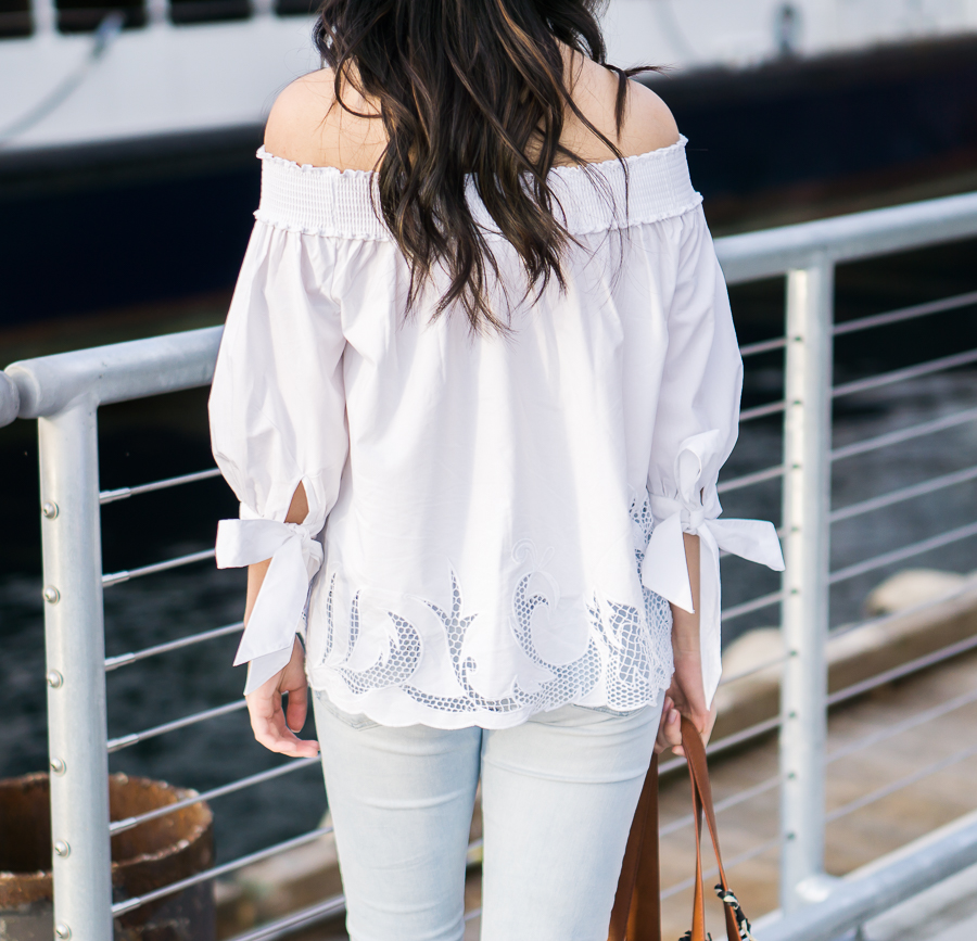 white off shoulder top with bow detail, spring fashion, petite fashion blog