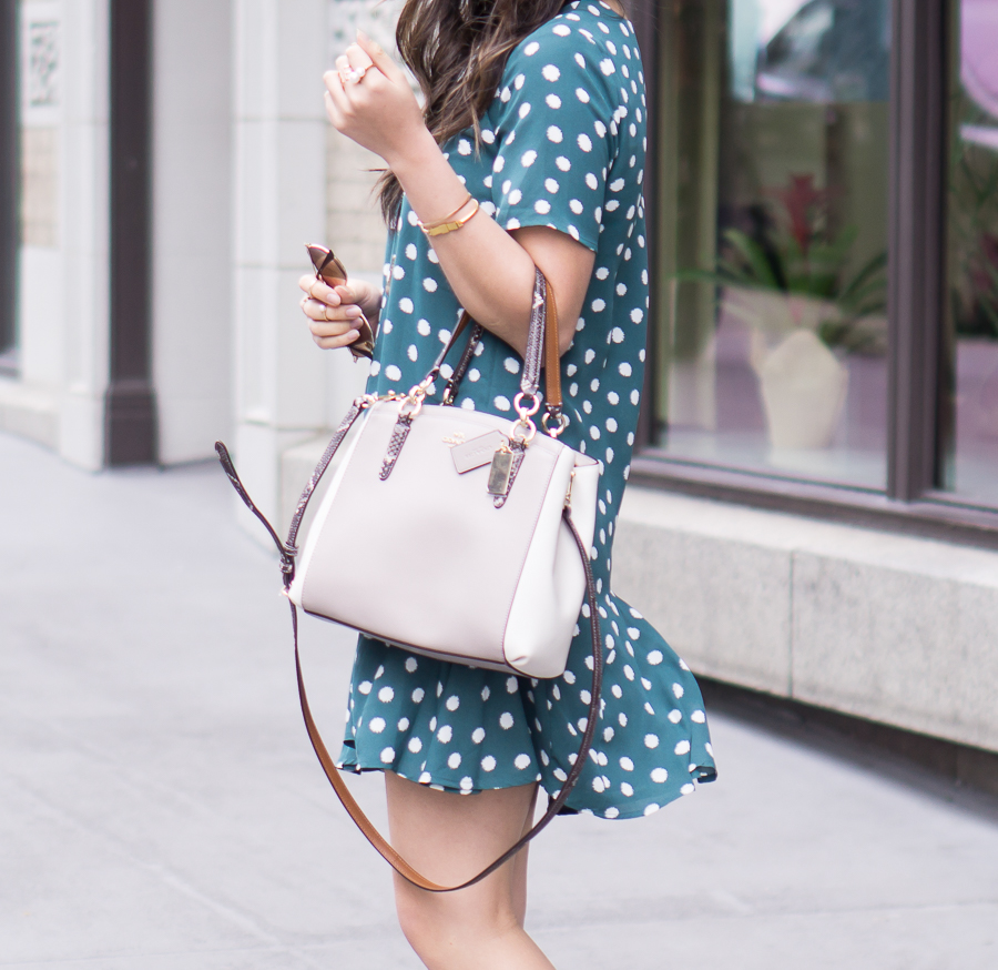 polka dot dress, cute spring outfit, petite fashion blog