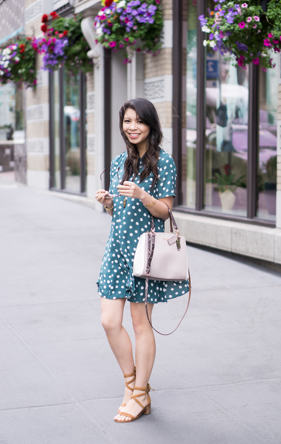 polka dot dress, ankle strap sandal, cute spring outfit, petite fashion blog