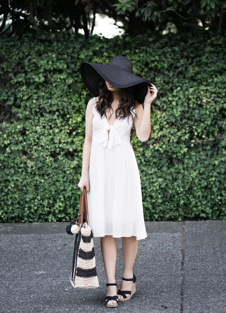 4 summer white dresses you need right now, leith tie front dress