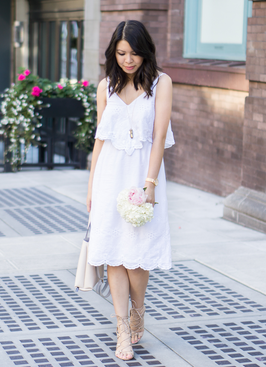 4 Summer White Dresses You Need Right Now Wayf Cotto Eyelet Popover Dress