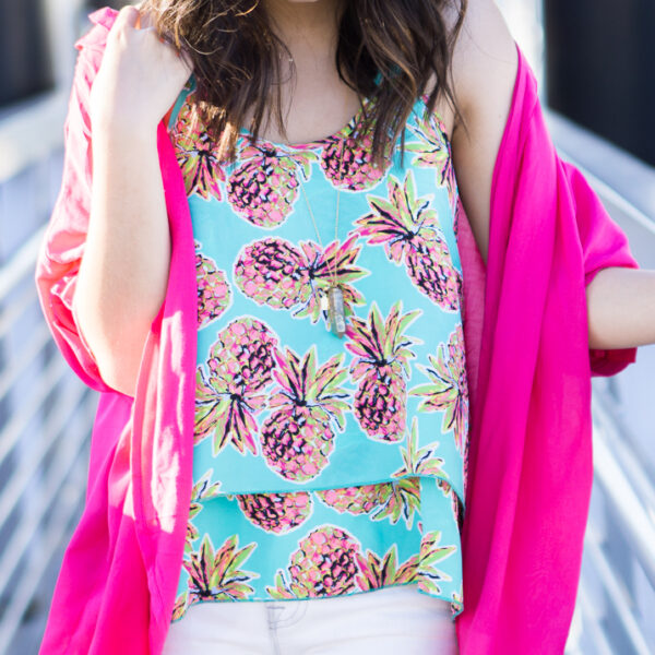 pink kimono, pineapple print top, petite fashion blog
