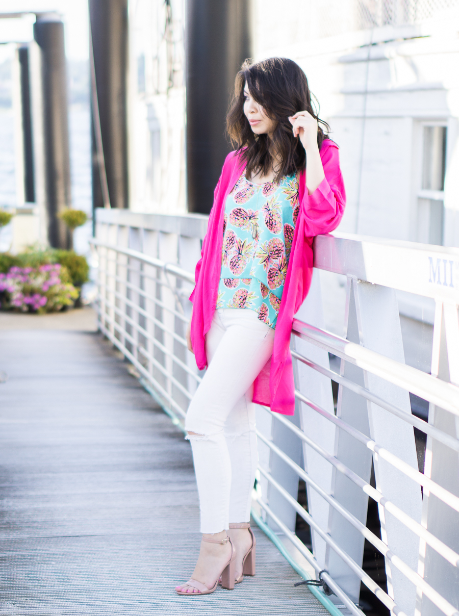 pink kimono, pineapple print top, white jeans outfit, petite fashion blog