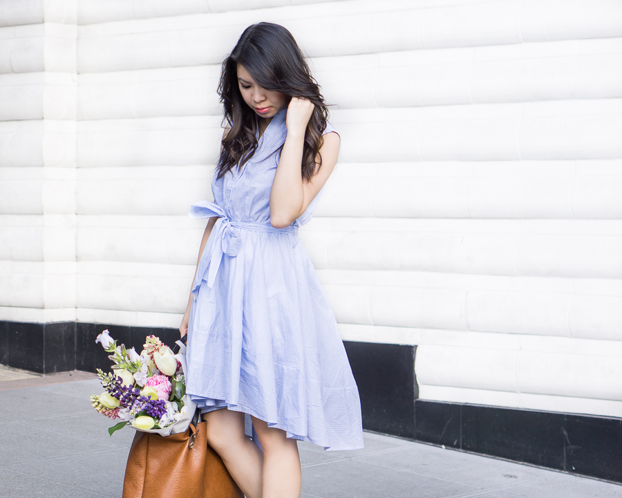 flare striped dress, cute summer outfit