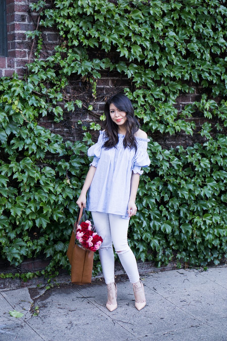 off the shoulder top outfit, white jeans, summer outfit, petite fashion blog